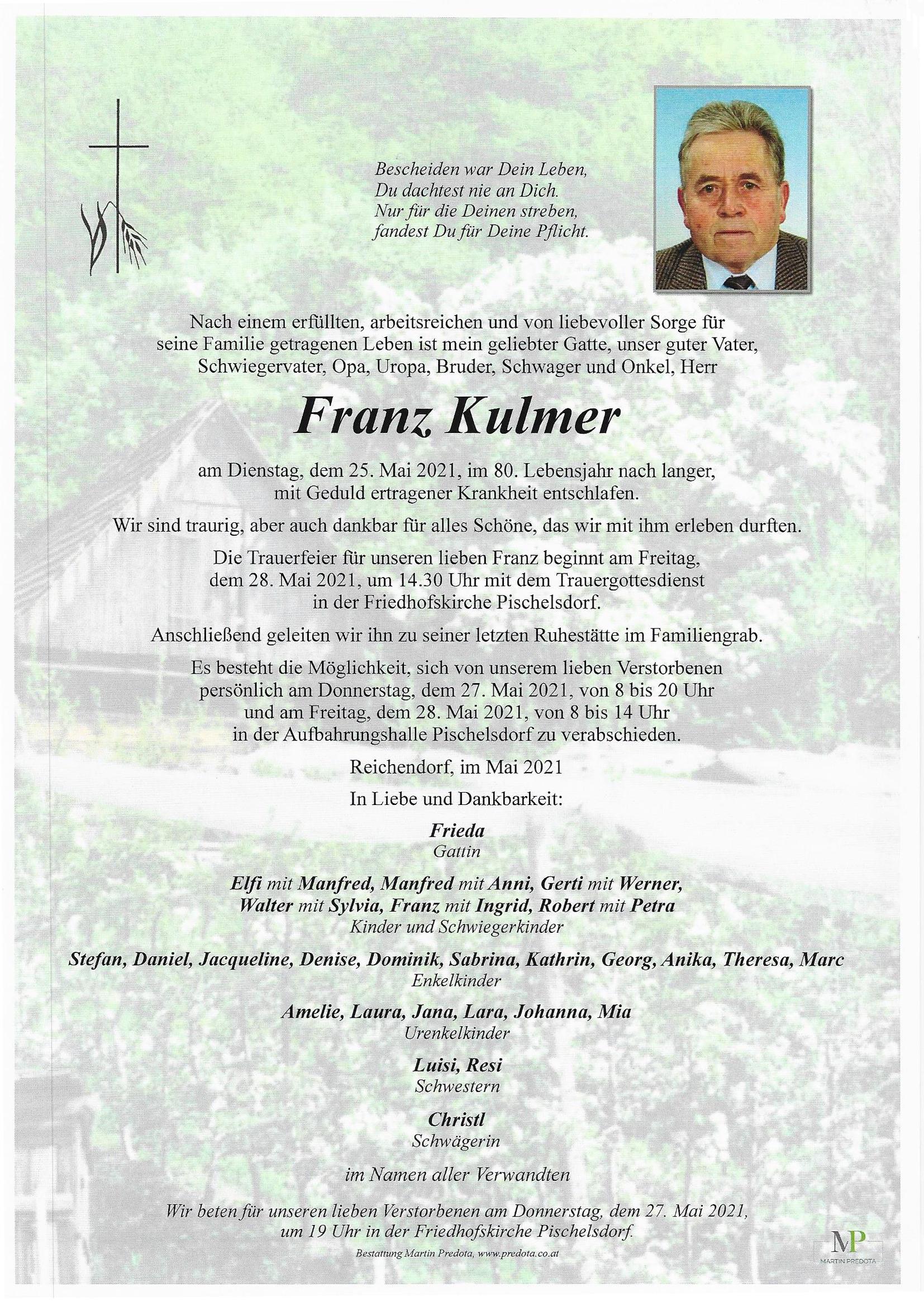Nachruf HFM Franz Kulmer