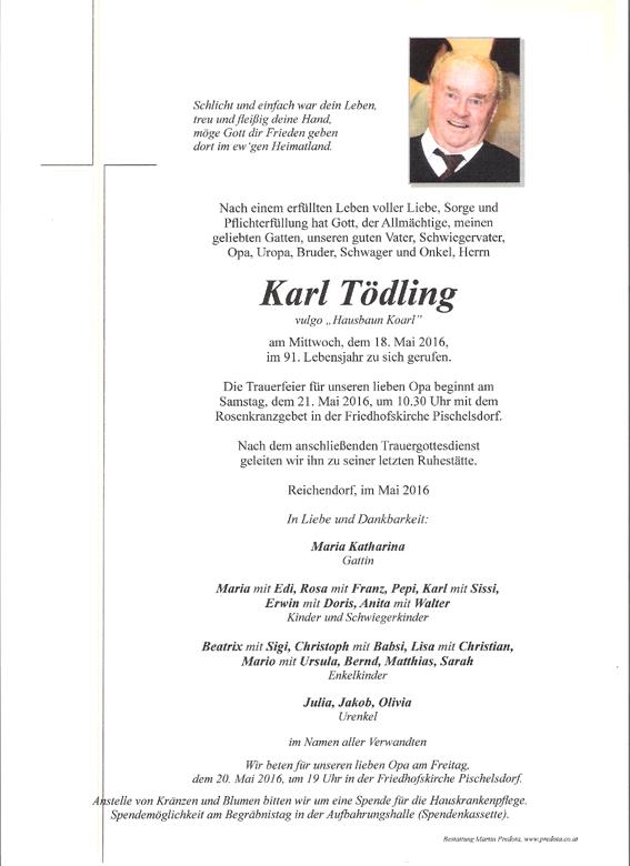 Nachruf E-HLM Karl T�dling
